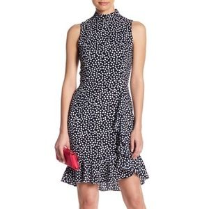 Betsey Johnson Crepe Polka Dot Ruffle Shift Dress